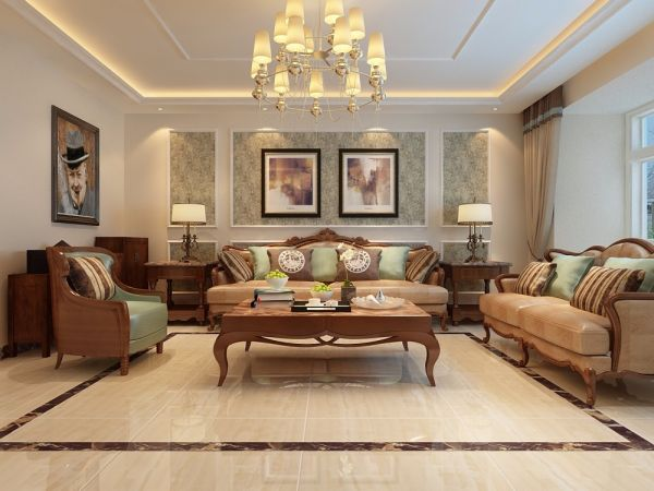 客厅白色吊顶欧式风格装饰图片