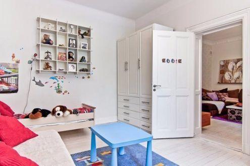 儿童房白色衣柜简约风格装修图片