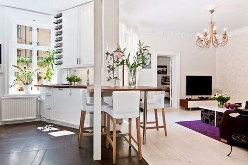 餐厅白色餐桌简约风格装潢图片