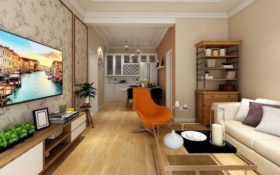 客厅黄色地板砖简约风格装饰设计图片
