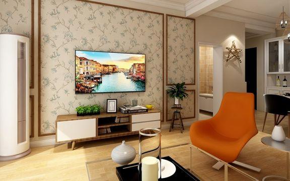客厅米色背景墙简约风格装潢设计图片