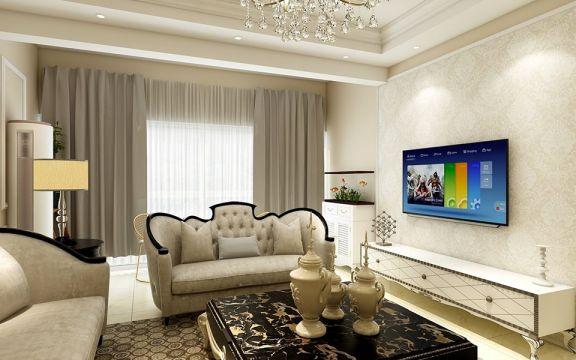 客厅米色沙发简欧风格装潢效果图