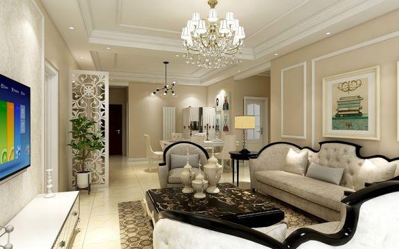 客厅白色隔断简欧风格装饰图片
