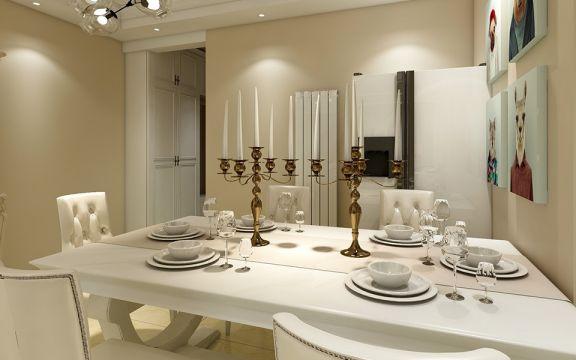 餐厅白色餐桌简欧风格装修设计图片