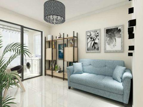 客厅蓝色沙发现代风格装潢效果图