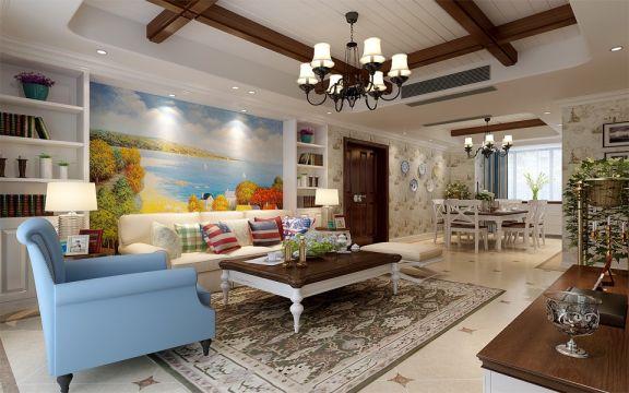 保利五月花三居室200平米美式乡村风格装修效果图