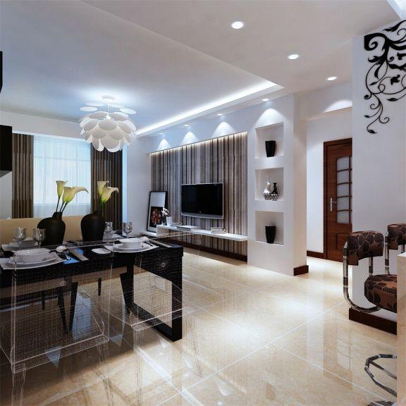 客厅米色地砖现代简约风格装潢设计图片