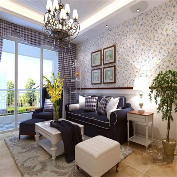 客厅彩色背景墙地中海风格装饰图片
