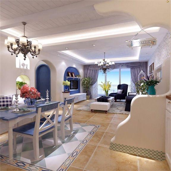 餐厅蓝色餐桌地中海风格装潢图片