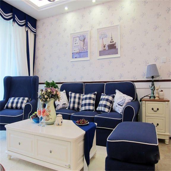 客厅蓝色沙发地中海风格装饰设计图片