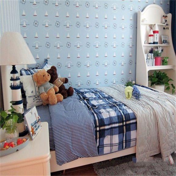 儿童房蓝色床地中海风格装修效果图