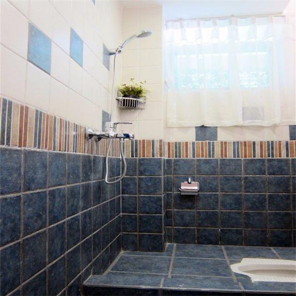 浴室蓝色地砖地中海风格装修图片