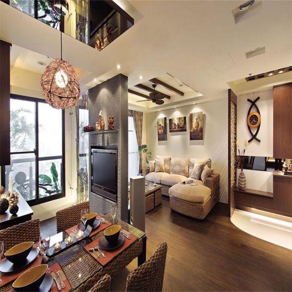 玄关咖啡色鞋柜东南亚风格装潢设计图片