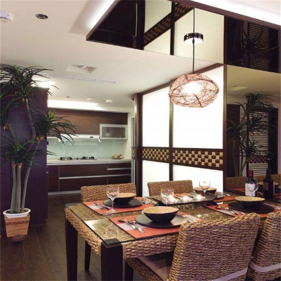 厨房咖啡色橱柜东南亚风格效果图