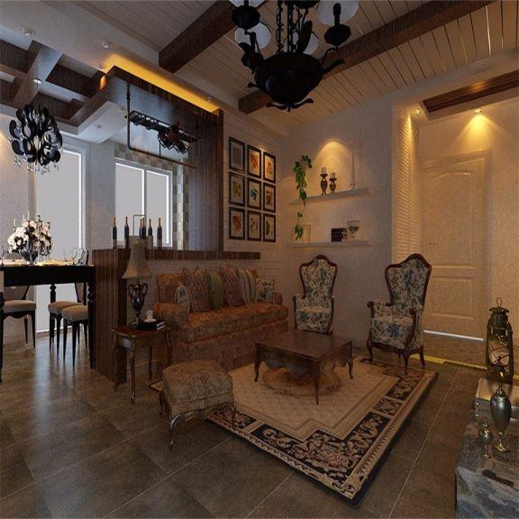 客厅黄色沙发乡村风格装潢图片