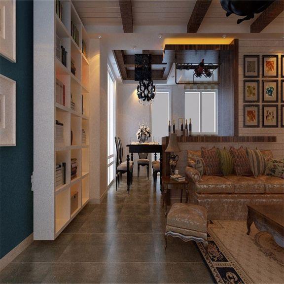 客厅白色书架乡村风格装饰设计图片