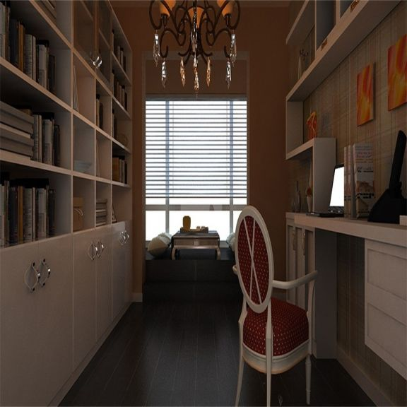 书房白色书架乡村风格装修效果图