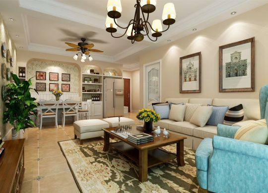 11万预算107平米两室两厅装修效果图