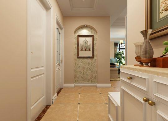 設計精巧美式白色進門鞋柜效果圖圖片