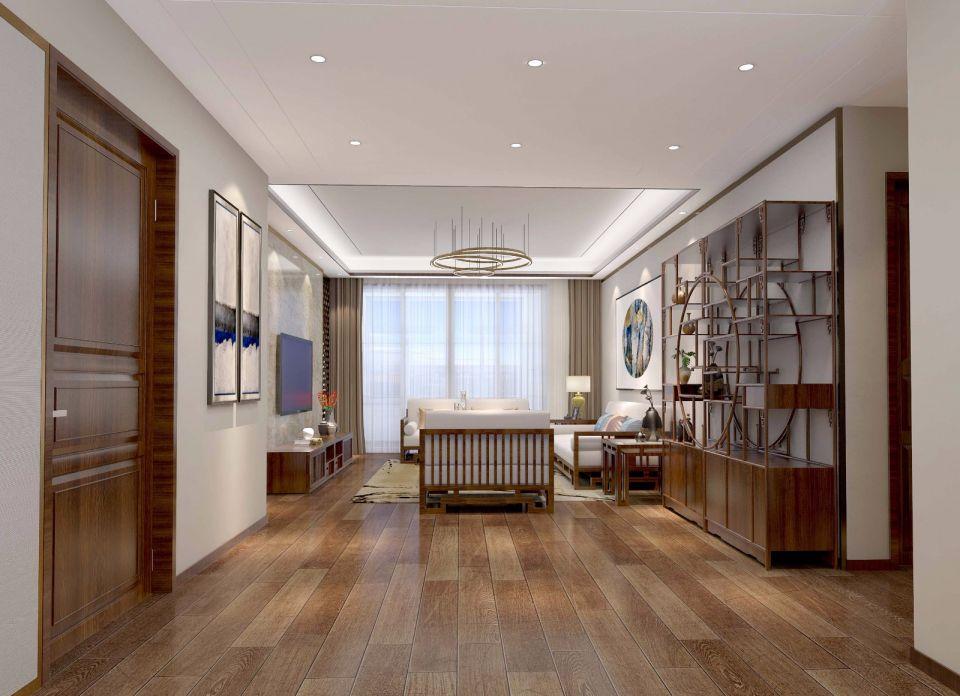 新中式风格180平米三居室装修效果图