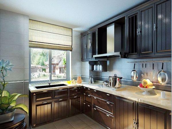 厨房厨房岛台新中式风格装潢图片