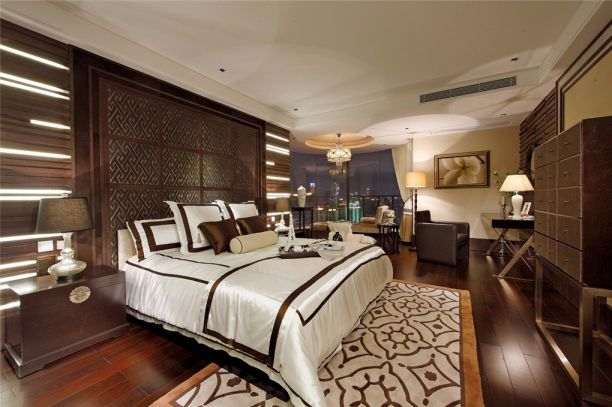 新中式风格137平米三室两厅新房装修效果图