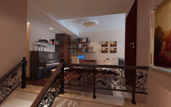 客厅阁楼中式风格装潢设计图片