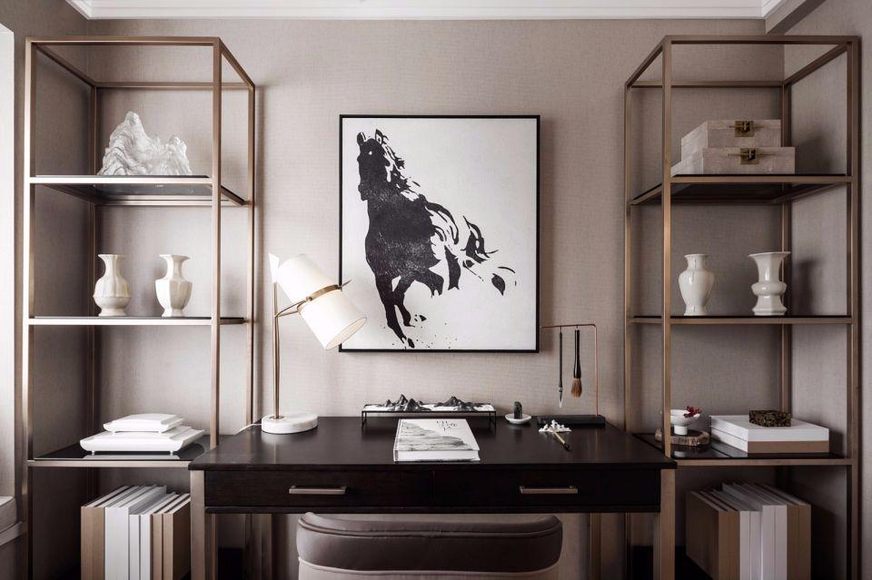 书房书桌中式风格装饰设计图片