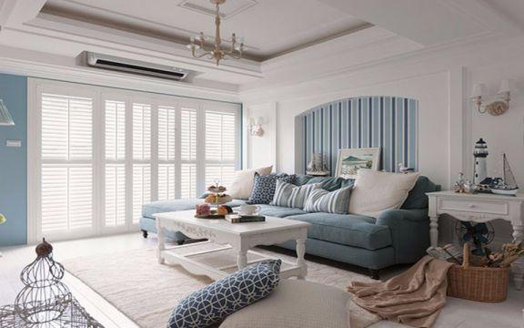 地中海风格80平米三室两厅新房装修效果图