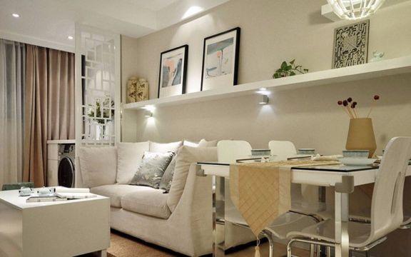 现代中式风格70平米两室两厅新房装修效果图