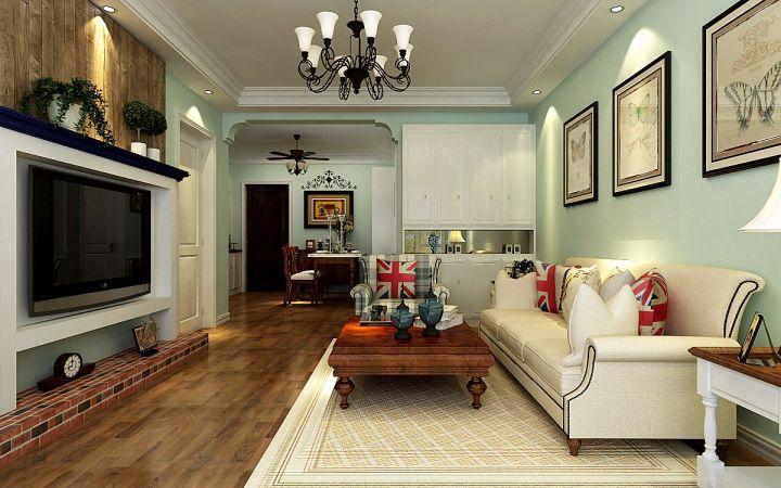 7万预算107平米两室两厅装修效果图