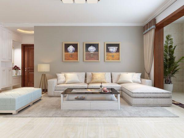 济水上苑140平简约风格三居室装修效果图