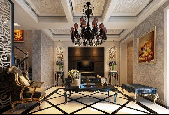 金地艺境复式楼180平米四居室欧式风格装修效果图