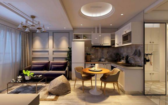 简约风格58平米公寓新房装修效果图
