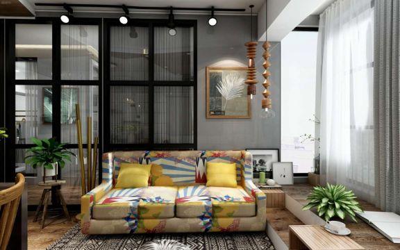 北欧风格68平米一室两厅新房装修效果图