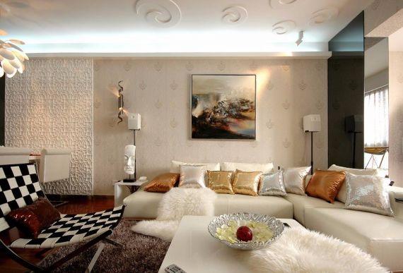 荣盛锦绣南现代风格99平米三居室装修效果图