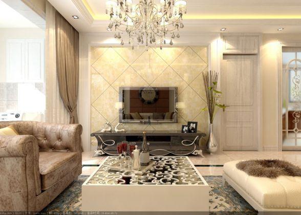 银盛泰泰馨苑97平米二居室欧式装修效果图