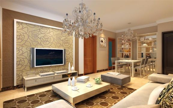 太阳都市95平两室两厅现代简约装修效果图