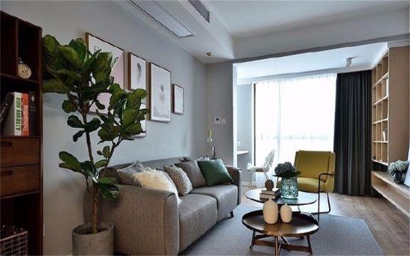 北欧风格77平米两室两厅新房装修效果图