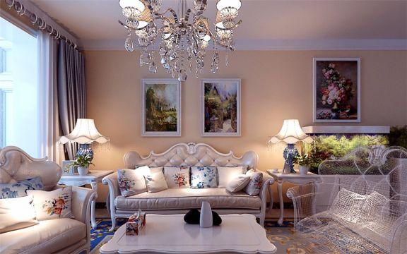 唐人中心120平米三室两厅简欧风格装修效果图