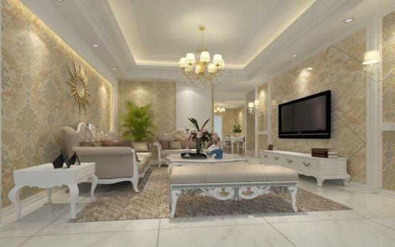 丹桂园二居室现代风格110平米装修效果图