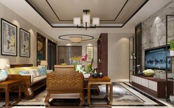 120平3居室新中式风格装修效果图