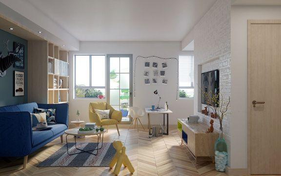 北欧风格100平米两室两厅新房装修效果图