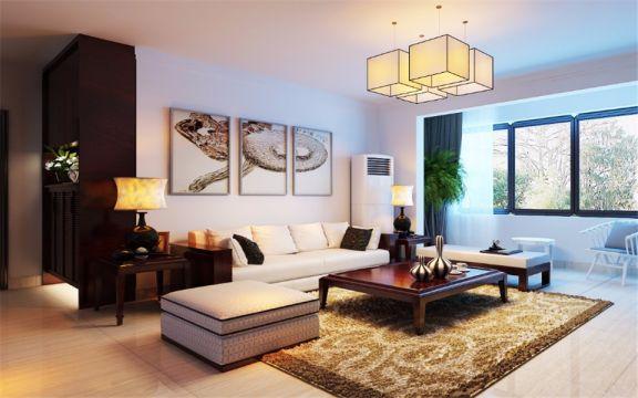 泰悦赫府156平新中式风格楼房装修效果图