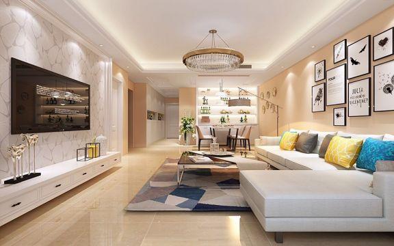 120平米欧式风格三居装修效果图