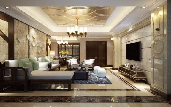 120平米三居室中式风格装修效果图