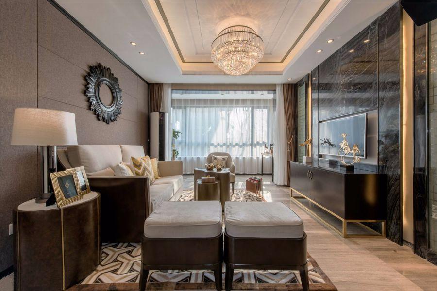 现代简约风格113平米三室两厅新房装修效果图