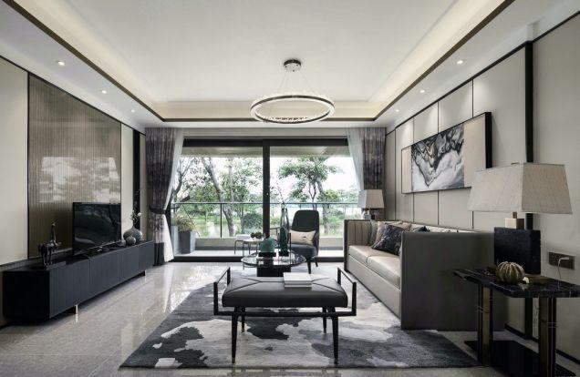 新中式风格117平米三室两厅新房装修效果图