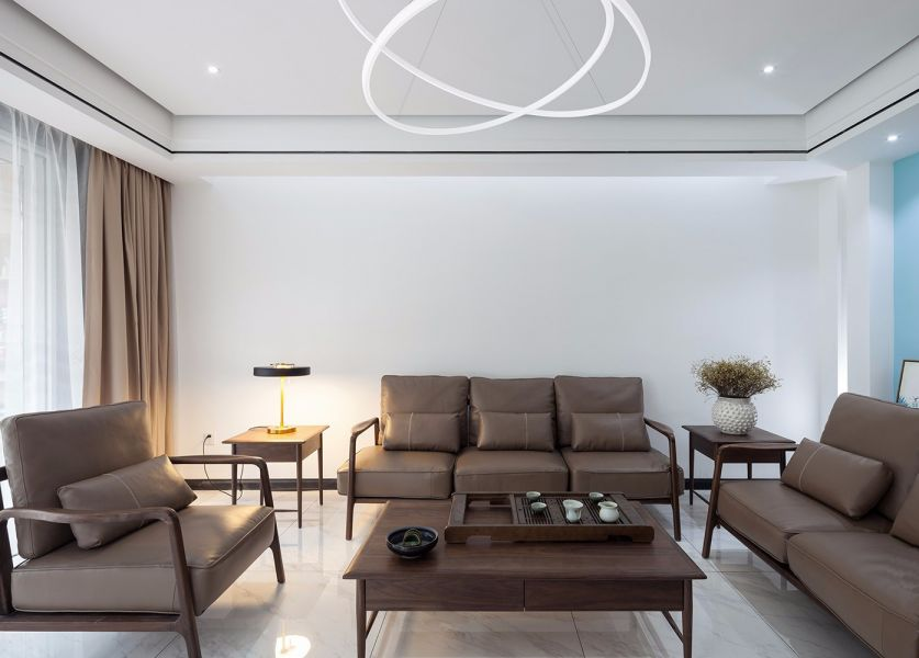 157平米现代中式三室装修效果图