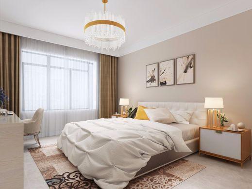 卧室黄色窗帘北欧风格装潢图片